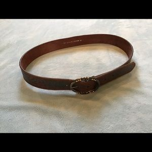 Brown belt w/ green embossing, genuine leather